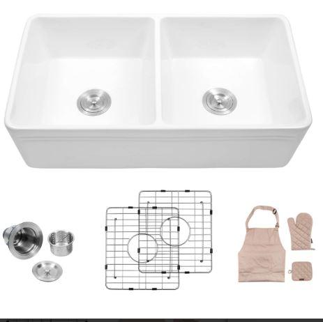 Lordear Double Bowl Kitchen Sink Farmhouse
