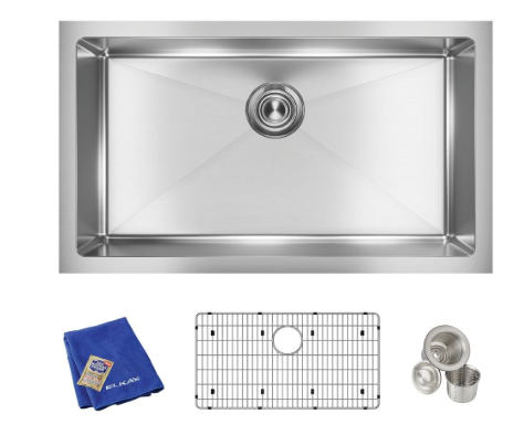Elkay Crosstown 16 Gauge Stainless Steel Single Bowl Undermount Sink Kit