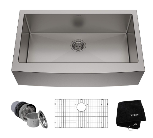 Kraus Farmhouse Apron Single Bowl 16 Gauge Stainless Steel Kitchen Sinks