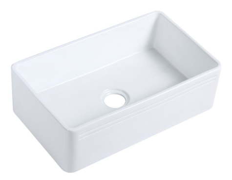 White Farmhouse Kitchen Sink White porcelain Vitreous